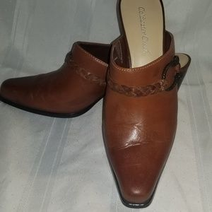 Coldwater Creek Leather Mules Clogs SZ 8.5